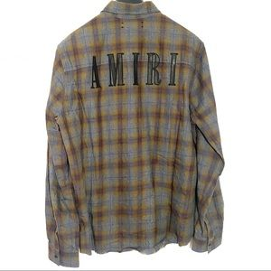 Amiri Flannel Leather Letter Shirt Size XL NEW